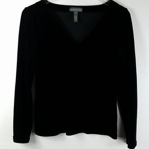 Banana Republic Black Velvet Vneck Top